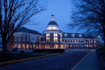 Baker Center at night