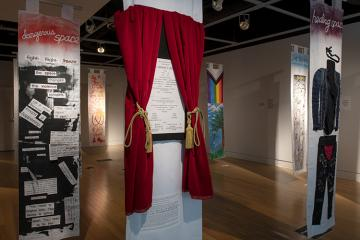 "The ""In This Space: Disrupted"" exhibit is seen inside Ohio University's Trisolini Gallery."