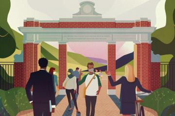This illustration, featuring students and alumni passing through Ohio University's Alumni Gateway, is featured on the cover of Ohio Today's fall 2020 issue.
