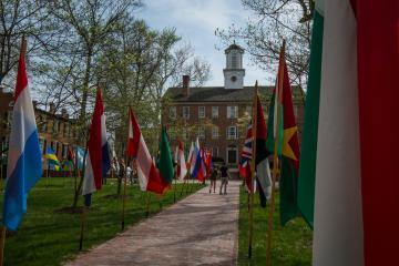 Cutler Hall with flags