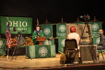 Dr. Nellis gives his speech virtually during the 2020 Fall commencement