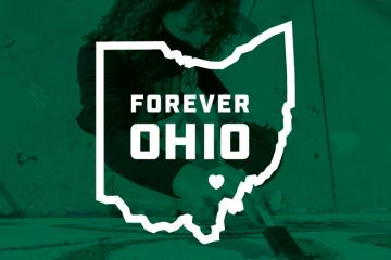 "Pictured is the ""Forever OHIO"" image featured on the cover of the spring 2021 issue of Ohio Today, Ohio University's alumni magazine."