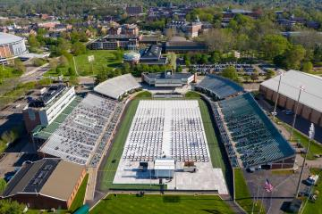 An aerial view of the Ohio University Peden Stadium where the 2021 Spring Commencement ceremony was held