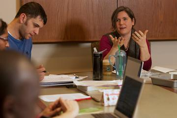 Dr. Myra Waterbury leads a seminar in comparative politics
