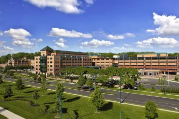Kettering Health main campus, tall buildings and trees