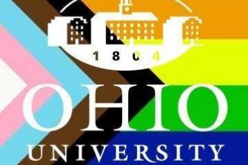 OHIO University logo over LGBT pride flag colors