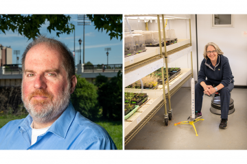 Two pictures side by side, one of Dr. Nathaniel Szewczyk and the other of Dr. Sarah Wyatt in her lab.
