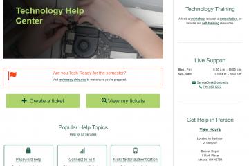 A screenshot of the Technology Help Center