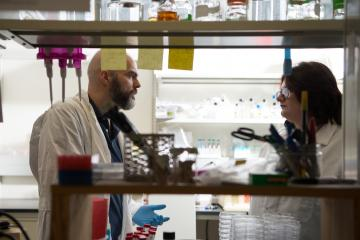 Ronan Carroll (Left) talks with a PhD student Caroll's lab in the Life Sciences Building on the Athens campus.