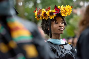 Brittany Seals participates in Fall 2020 Commencement on College Green.