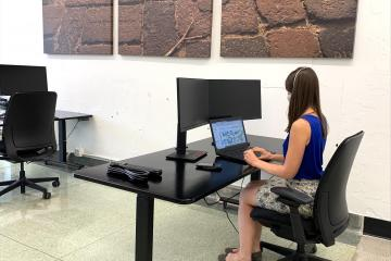 A lady sits at a desk using her laptop; the desk has a monitor and keyboard, and a similar setup is to the right and front.